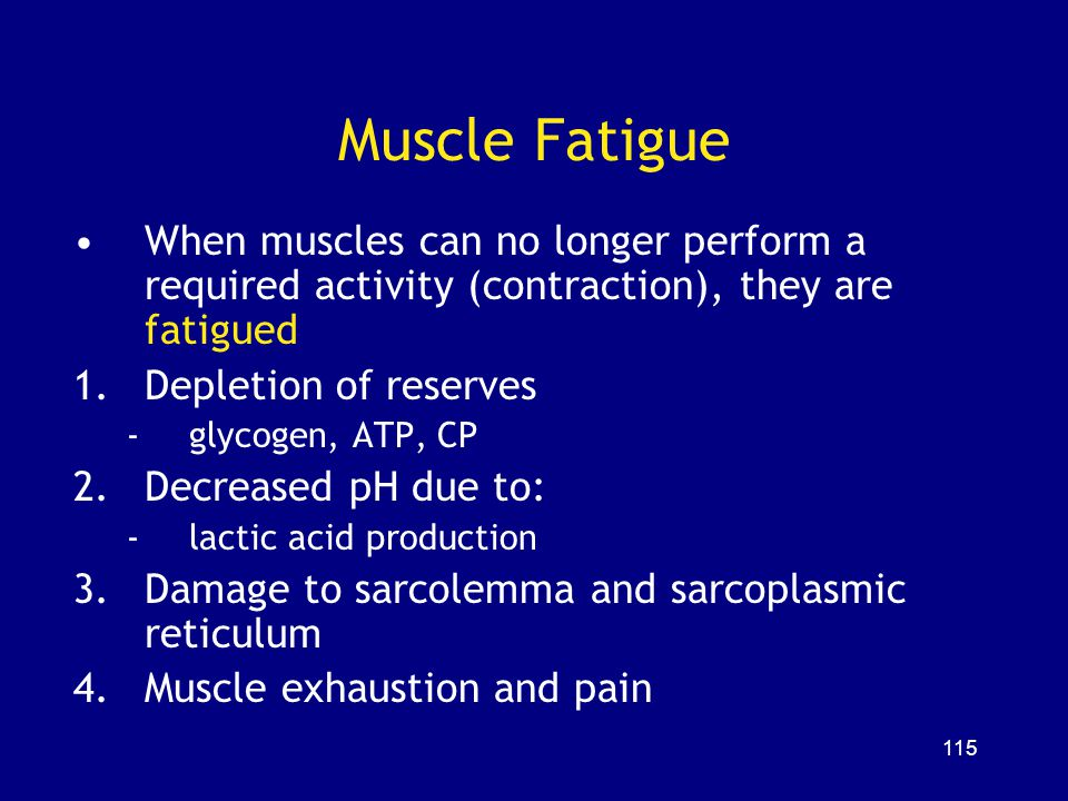 Muscle Fatigue When muscles can no longer perform a required activity (contraction), they are fatigued.