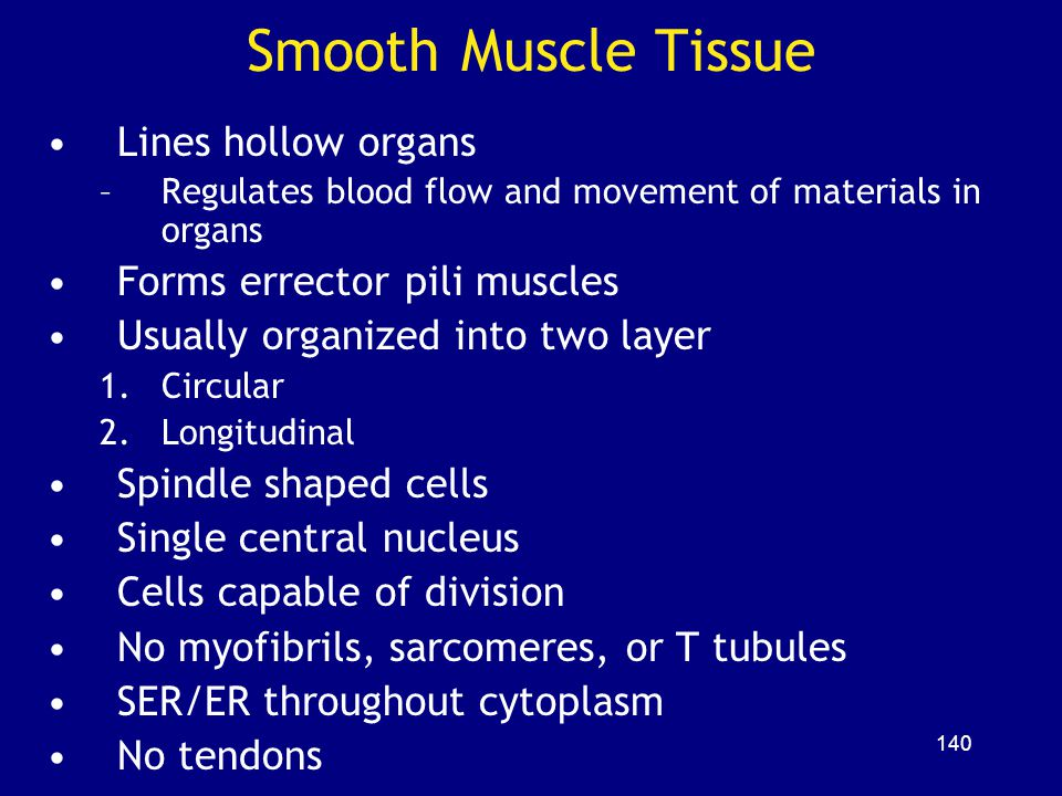 Smooth Muscle Tissue Lines hollow organs Forms errector pili muscles