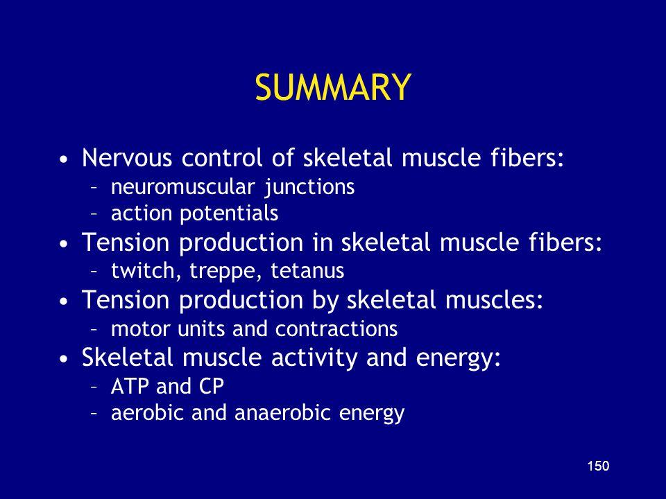 SUMMARY Nervous control of skeletal muscle fibers: