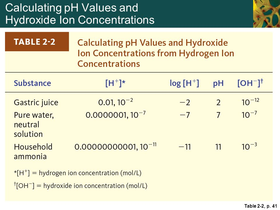 Calculating pH Values and Hydroxide Ion Concentrations