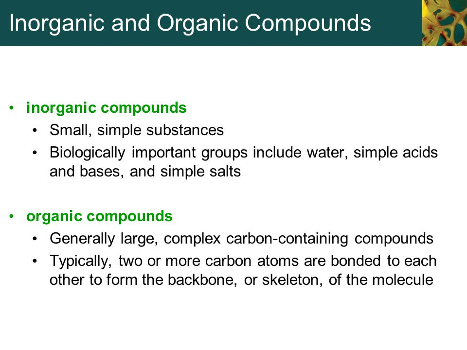 Inorganic and Organic Compounds