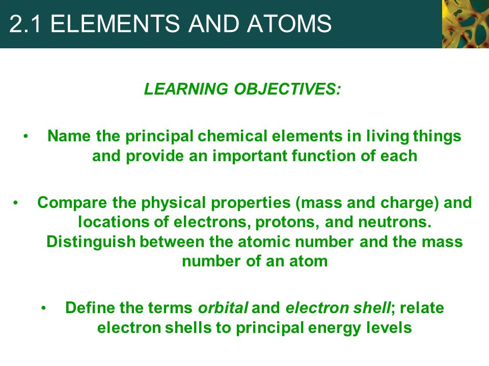 2.1 ELEMENTS AND ATOMS LEARNING OBJECTIVES: