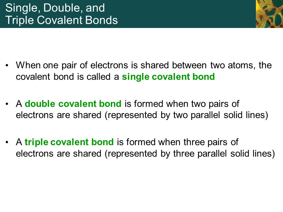 Single, Double, and Triple Covalent Bonds