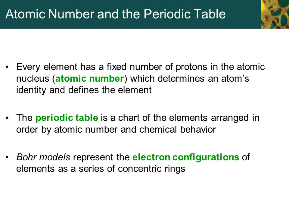 Atomic Number and the Periodic Table