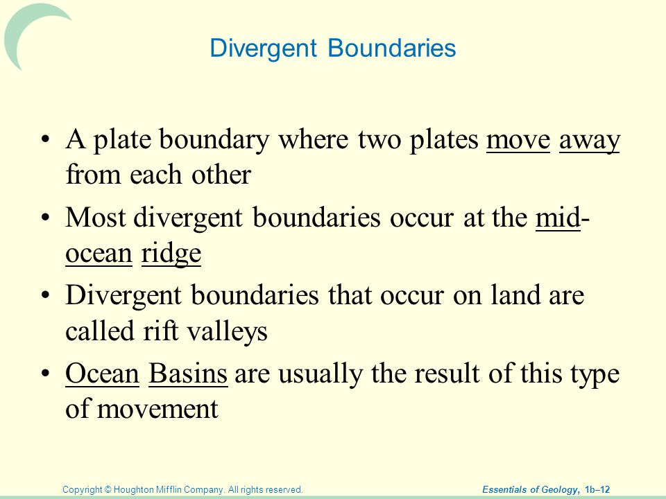 A plate boundary where two plates move away from each other