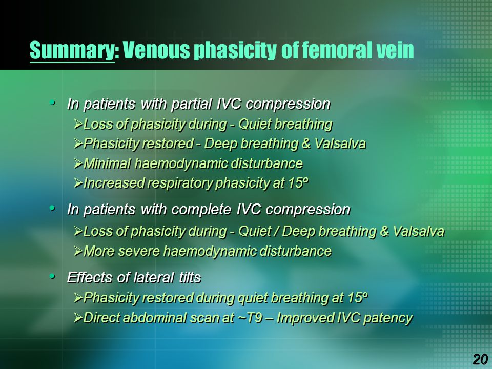 Summary: Venous phasicity of femoral vein