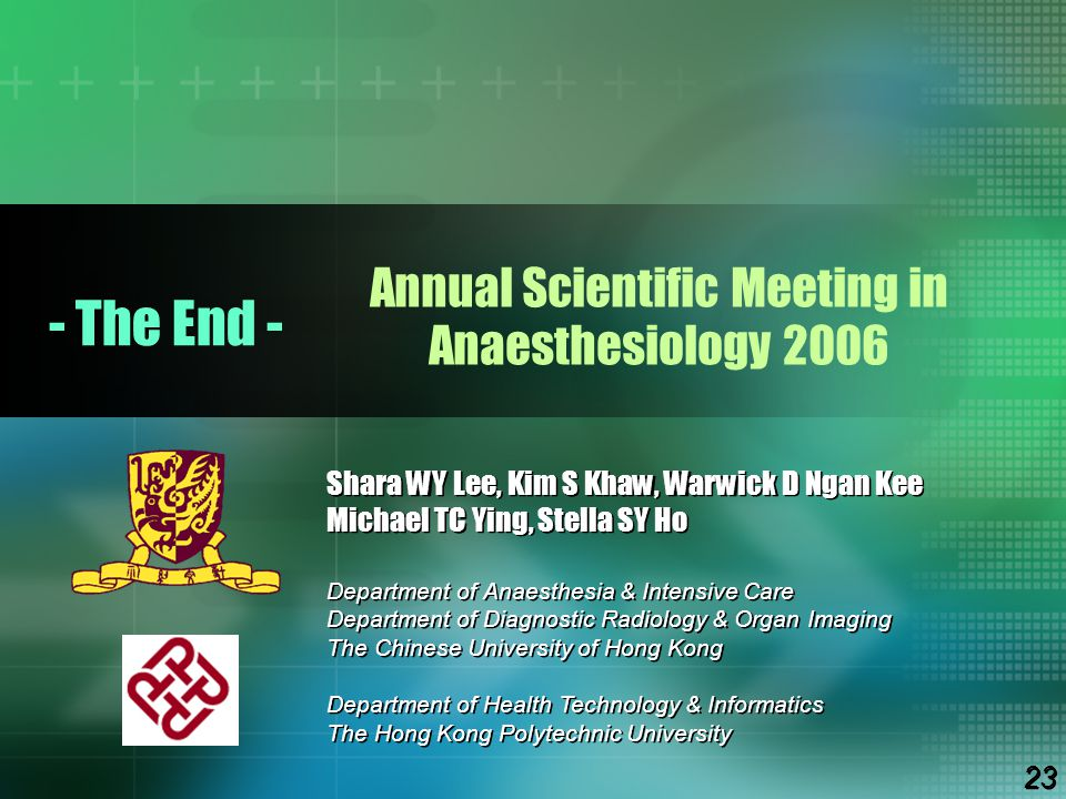 Annual Scientific Meeting in Anaesthesiology 2006