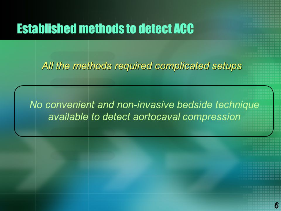 Established methods to detect ACC