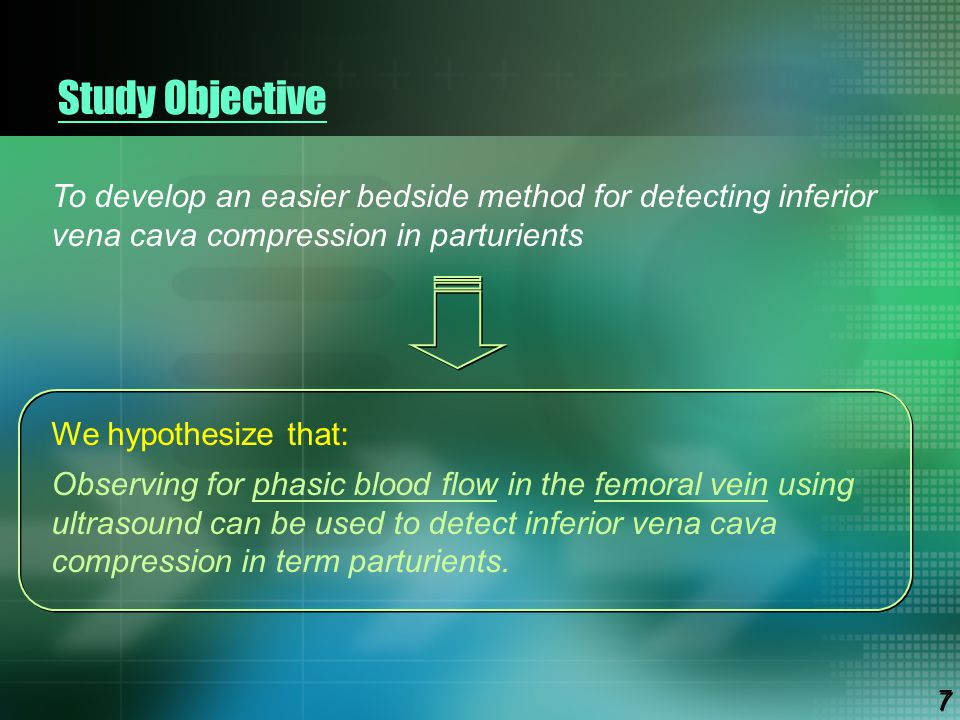 Study Objective To develop an easier bedside method for detecting inferior vena cava compression in parturients.