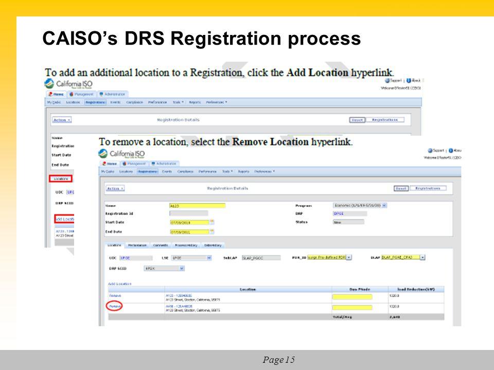 CAISO's DRS Registration process