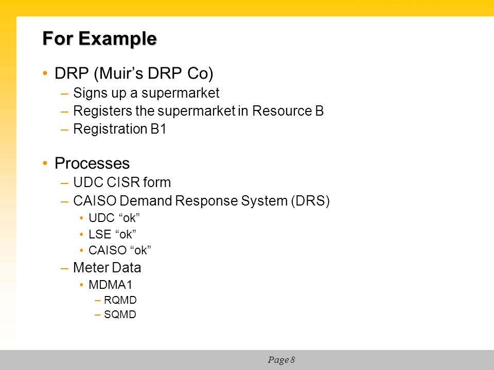For Example DRP (Muir's DRP Co) Processes Signs up a supermarket