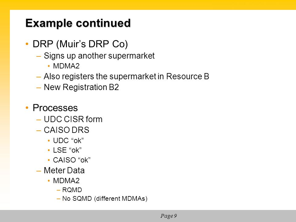 Example continued DRP (Muir's DRP Co) Processes