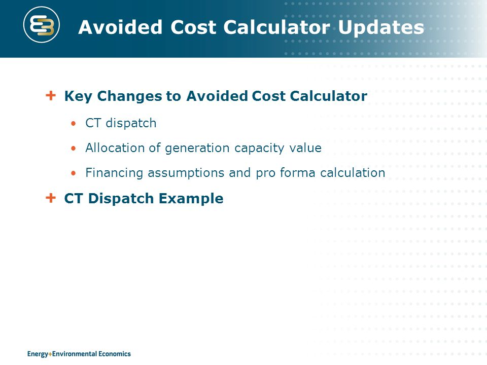Avoided Cost Calculator Updates