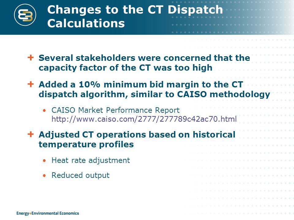 Changes to the CT Dispatch Calculations