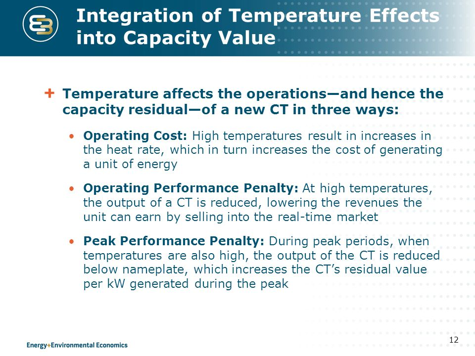 Integration of Temperature Effects into Capacity Value