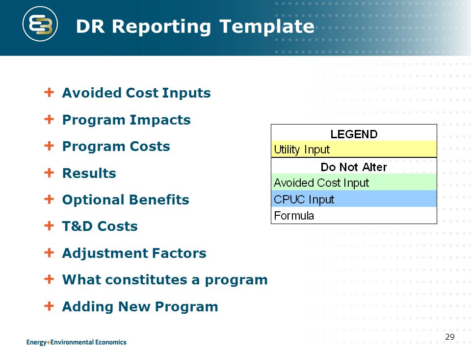 DR Reporting Template Avoided Cost Inputs Program Impacts