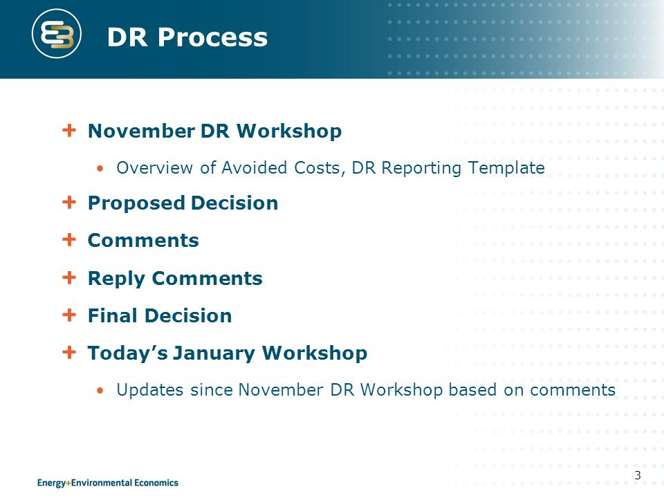 DR Process November DR Workshop Proposed Decision Comments