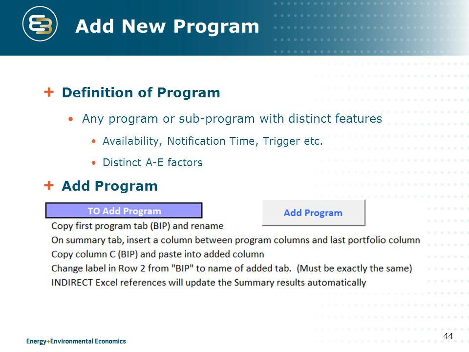 Add New Program Definition of Program Add Program