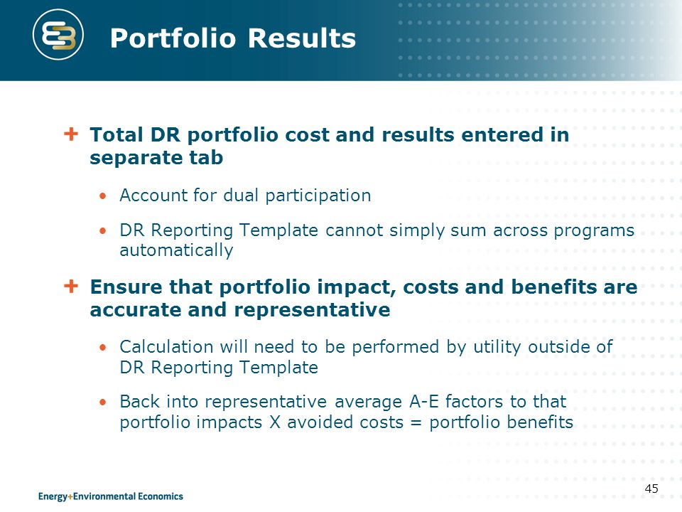 Portfolio Results Total DR portfolio cost and results entered in separate tab. Account for dual participation.