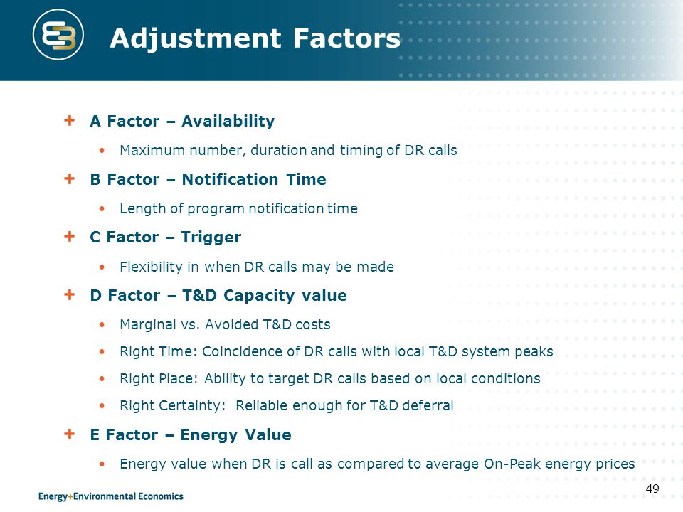 Adjustment Factors A Factor – Availability