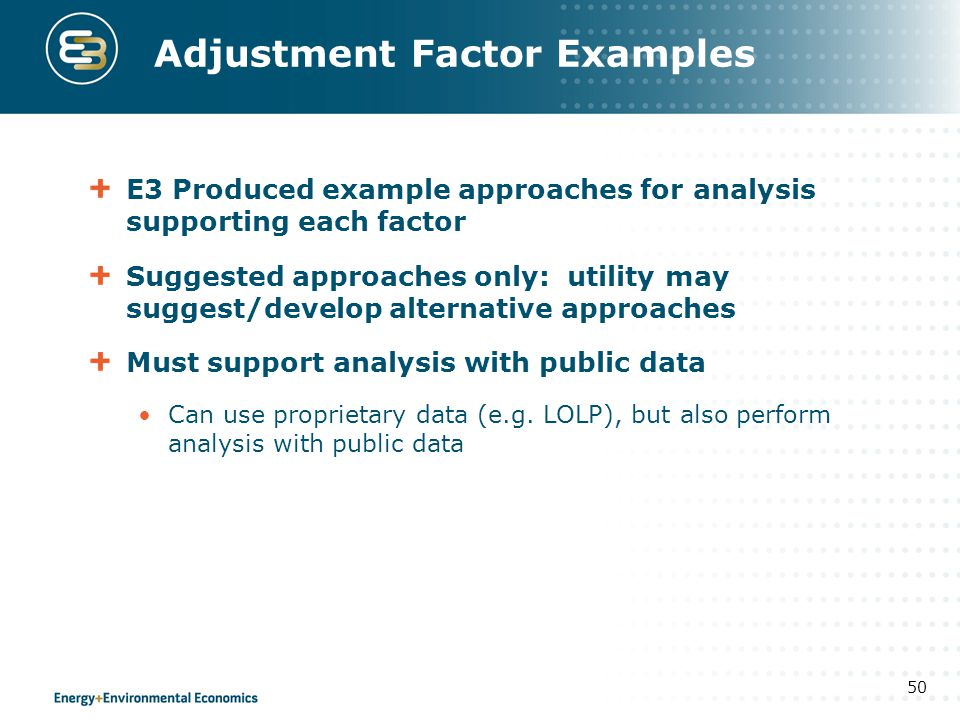 Adjustment Factor Examples