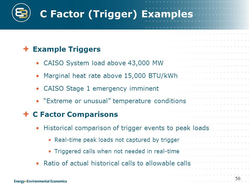 C Factor (Trigger) Examples