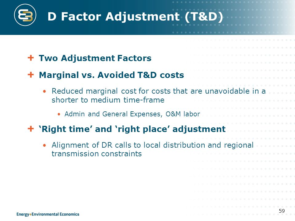 D Factor Adjustment (T&D)