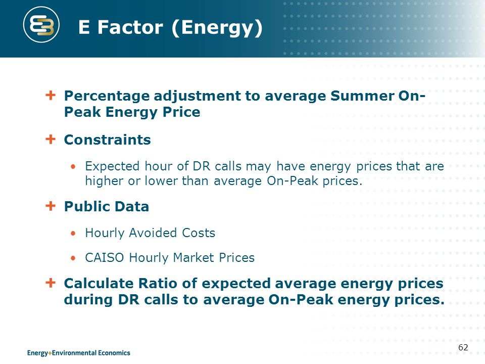 E Factor (Energy) Percentage adjustment to average Summer On-Peak Energy Price. Constraints.