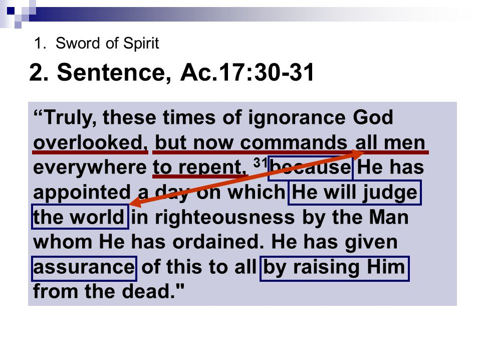1. Sword of Spirit 2. Sentence, Ac.17:30-31