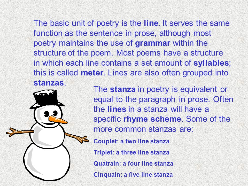 The basic unit of poetry is the line