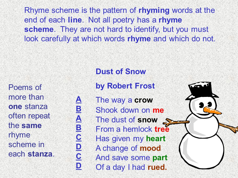 Rhyme scheme is the pattern of rhyming words at the end of each line