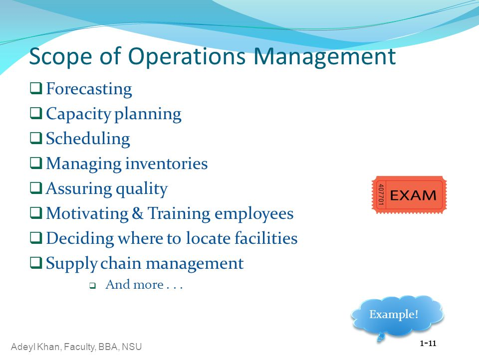 Scope of Operations Management