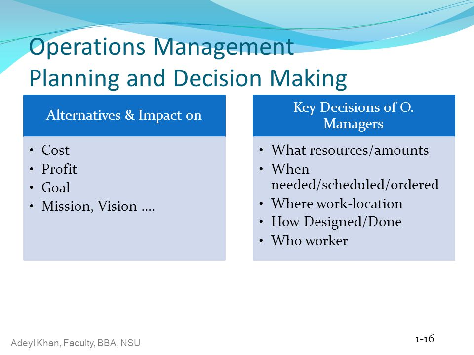 Operations Management Planning and Decision Making