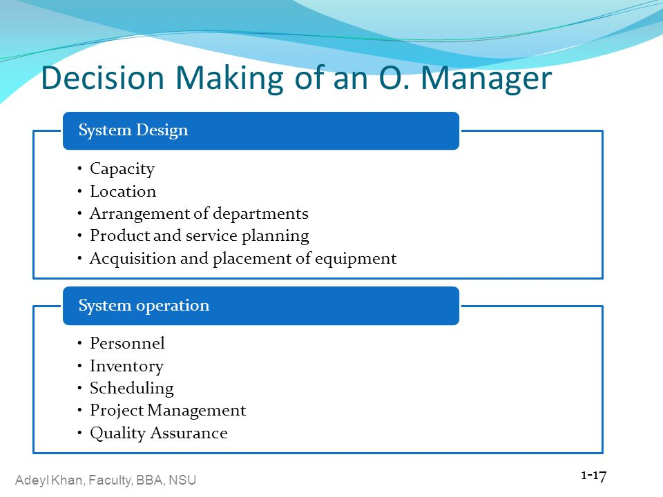 Decision Making of an O. Manager