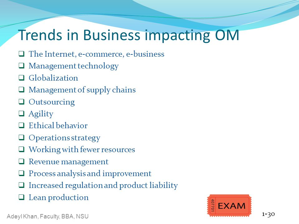 Trends in Business impacting OM