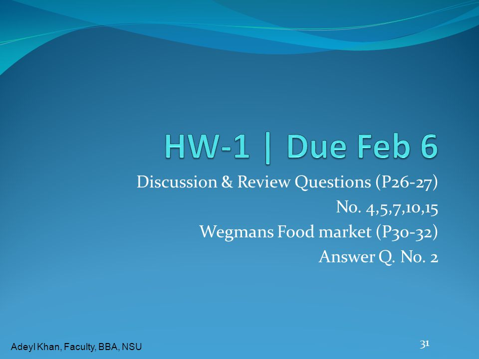 HW-1 | Due Feb 6 Discussion & Review Questions (P26-27)