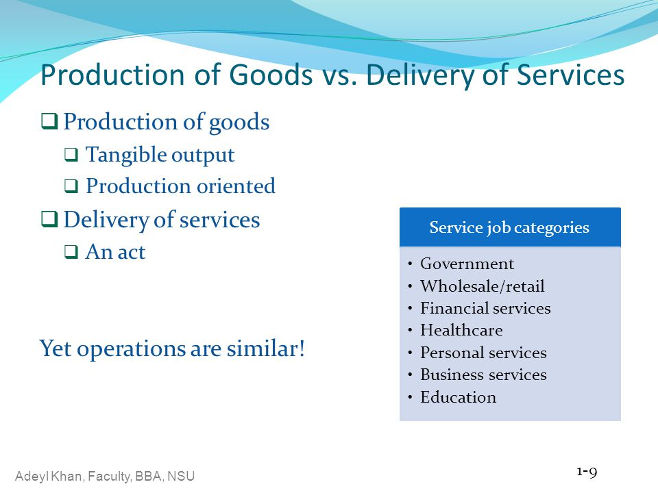 Production of Goods vs. Delivery of Services