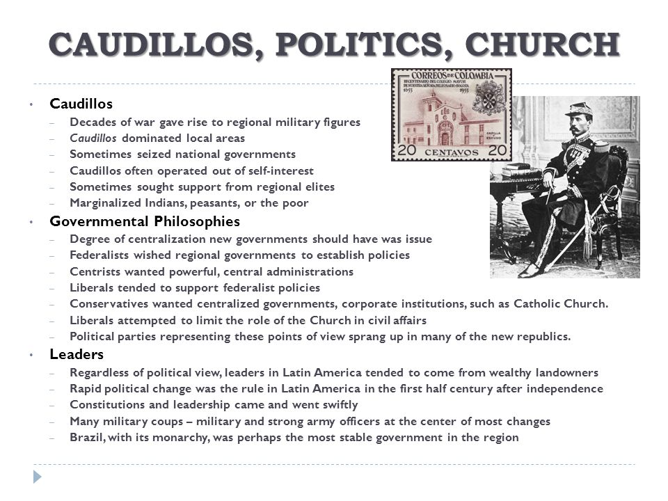 CAUDILLOS, POLITICS, CHURCH