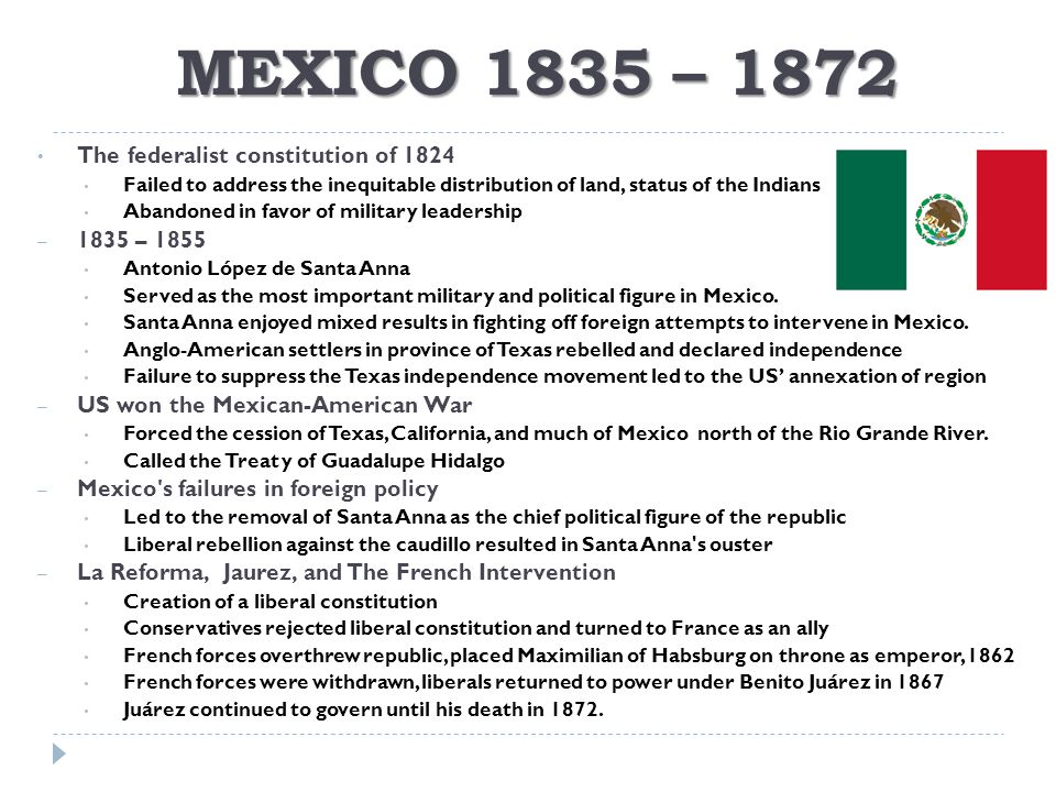 MEXICO 1835 – 1872 The federalist constitution of 1824 1835 – 1855