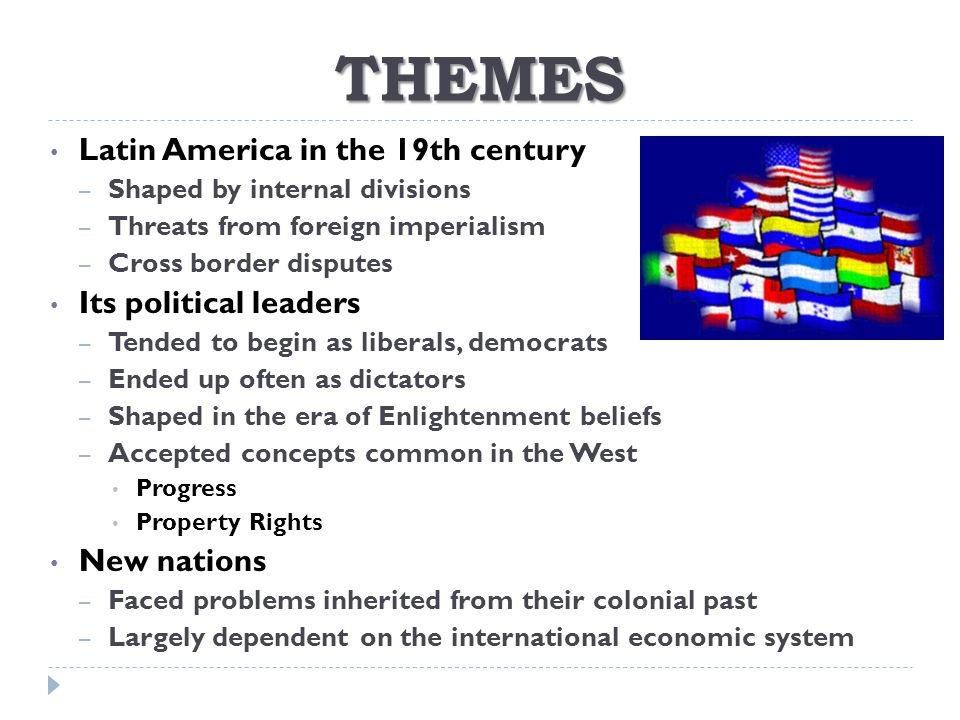 THEMES Latin America in the 19th century Its political leaders