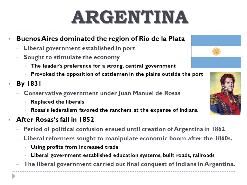 ARGENTINA Buenos Aires dominated the region of Rio de la Plata By 1831