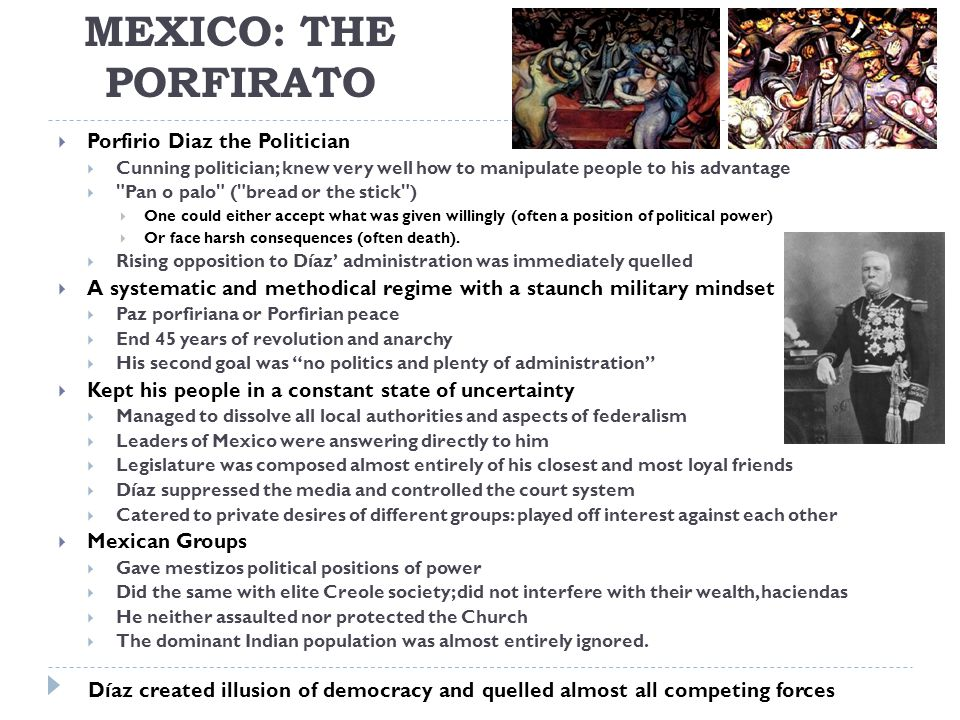 MEXICO: The Porfirato Porfirio Diaz the Politician