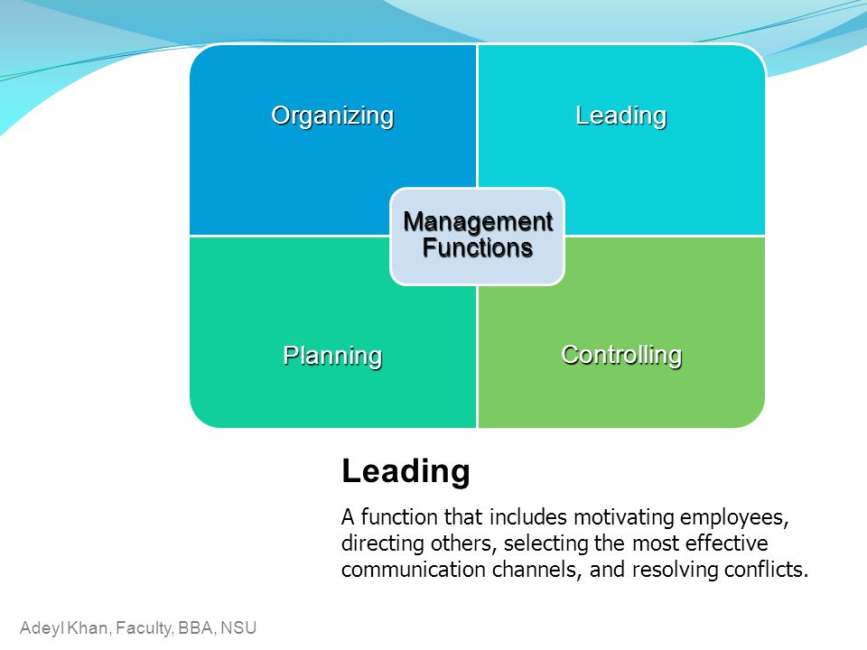 Management Functions Organizing. Leading. Planning. Controlling. Leading.