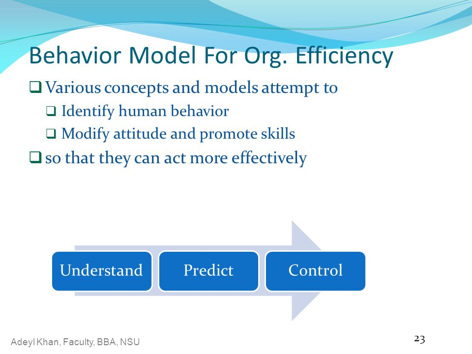 Behavior Model For Org. Efficiency