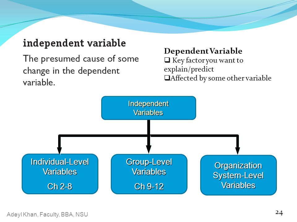 Individual-Level Variables Ch 2-8 Organization System-Level Variables