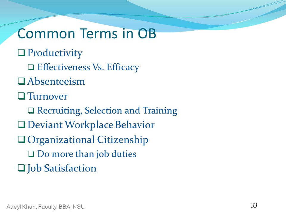 Common Terms in OB Productivity Absenteeism Turnover