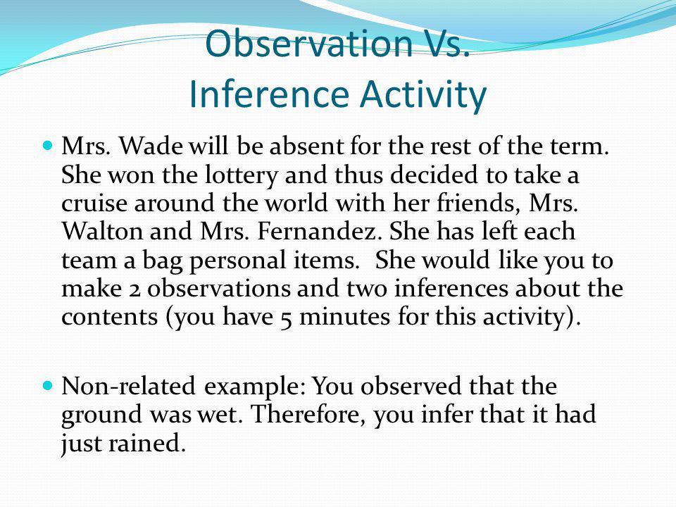 Observation Vs. Inference Activity