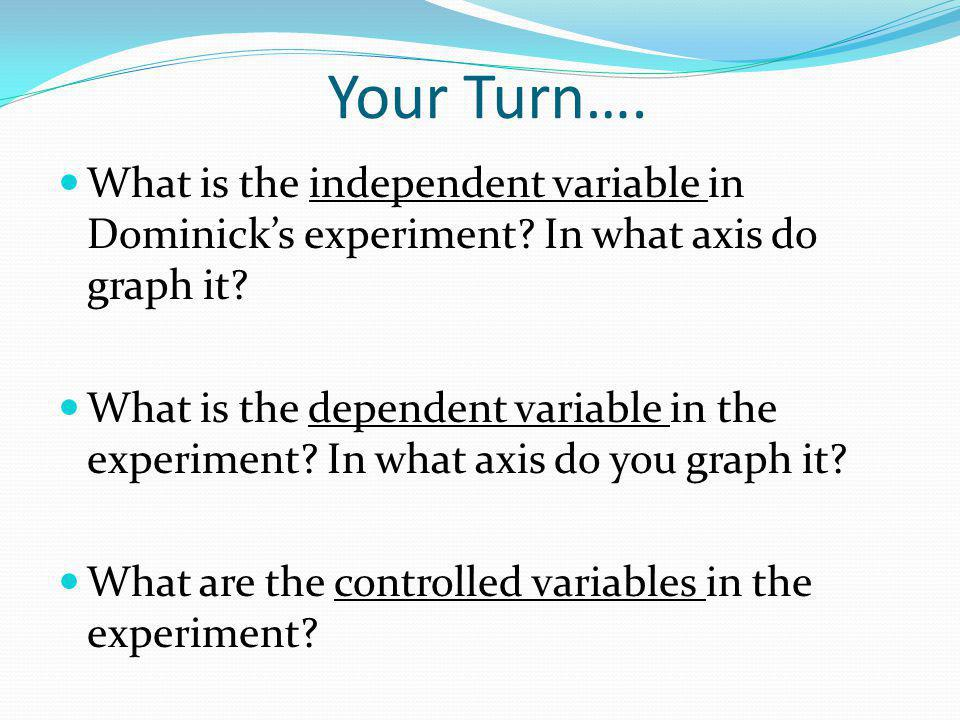 Your Turn…. What is the independent variable in Dominick's experiment In what axis do graph it