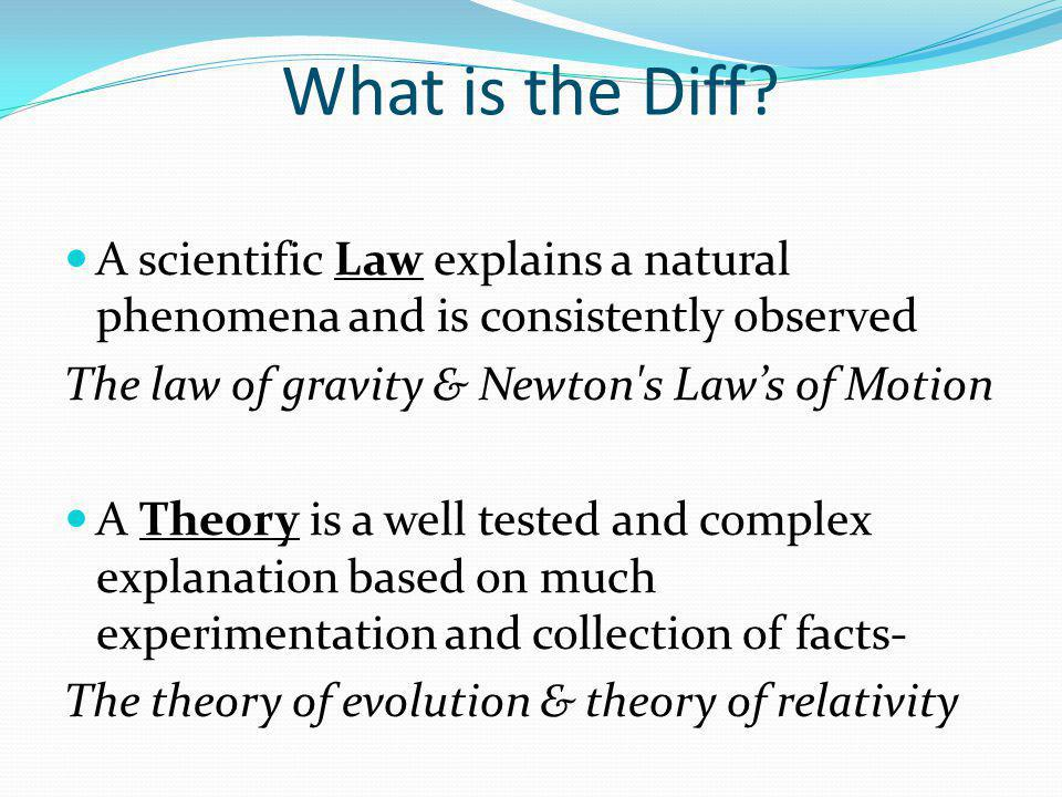 What is the Diff A scientific Law explains a natural phenomena and is consistently observed. The law of gravity & Newton s Law's of Motion.