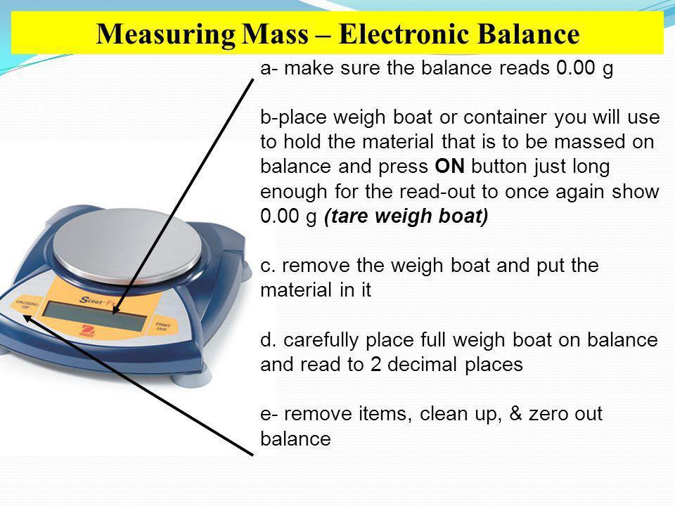 Measuring Mass – Electronic Balance
